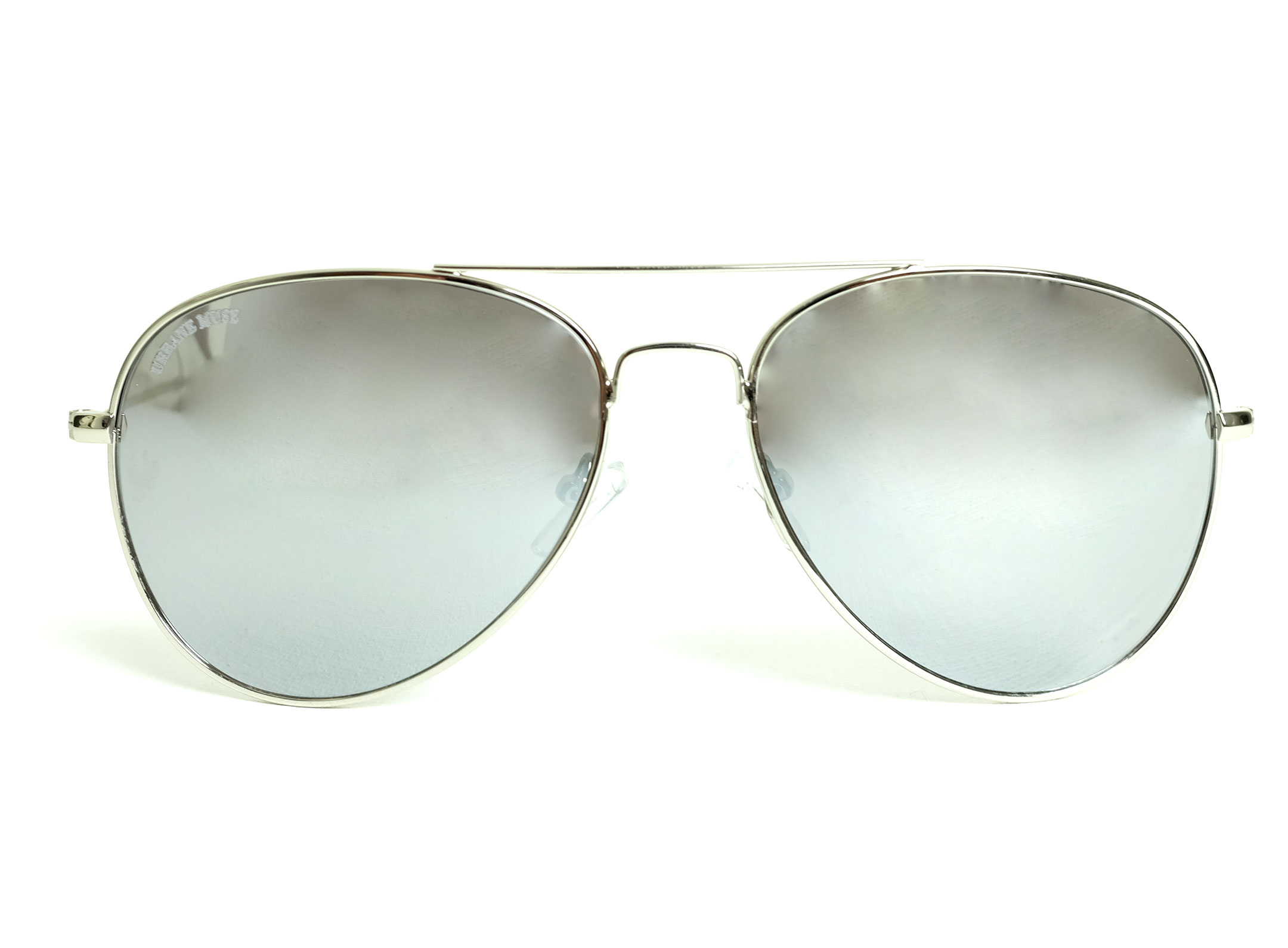 Silver Metal Frame Aviator Sunglasses with Silver Mirror lens ...